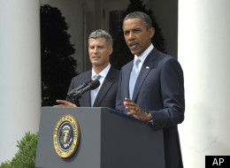 Obama speaking with Krueger - AP photo